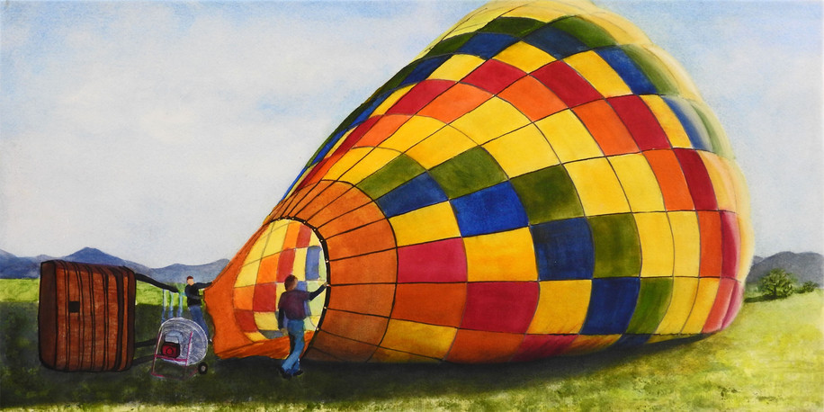 Hot air balloon watercolor painting